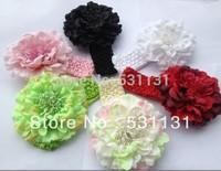 Free Shipping Wholesale Peony Flower Headbands 50pcs/lot, Mixed Color