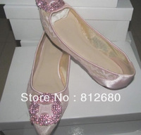 Fashion Designer Flats Wedding Dress Shoes Pink Lace + Rhinestone N-2012825