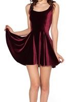 Best Quality 2014 New Women Velvet Mulled Wine Evil Skater Dress pleated deep red summer dress S M L XL Plus Size