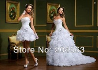 Free Shipping A-line Charming Elegant Two Pieces Sweetheart Organza Ruffles Detachable Skirt 2014 Wedding Dress