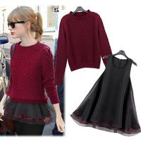 2014 women's fashion autumn and spring long-sleeve sweater twinset organza slim basic one-piece dress set