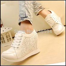 2015 Black White fashion Hidden Wedge Heels Rhinestone Casual elevator shoe Women's shoes Sneaker Sports Shoes For Women 16Color(China (Mainland))
