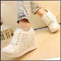 2014 Black White fashion Hidden Wedge Heels Rhinestone Casual elevator shoe Women's shoes Sneaker Sports Shoes For Women