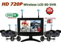 "Ship by China Post Air Mail 720P HD Wireless 7"" LCD monitor with 4-CH SD card DVR with 4pcs Cameras No Network Function"