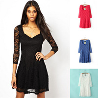 2014 Spring Fashion Women Cute Wedding Mini Lace Dresses Lady 3 Quarter Sleeve V-neck Dress Black White Blue Red Free Shipping