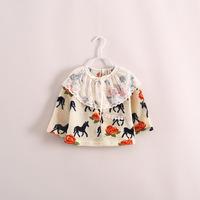 new arrival 2014 cute Girls Korean Ten thousand steeds gallop figure doll shirt kid top Lace collar 5pcs/lot