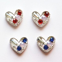 new arrival 3D rhinestones alloy red heart Cool Luxury Nail Art Decoration Glitters decoration Dropshipping 9*10mm 40pcs/lot
