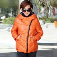 Spring 2014 Famous Brand Fashion Plus size Short section Thick Warm Women's Down jacket Hooded Women clothing Female jacket