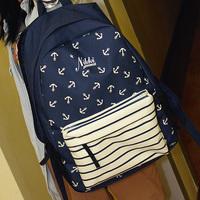 Backpack female fresh preppy style vintage fashion student school bag navy style travel  (SW)