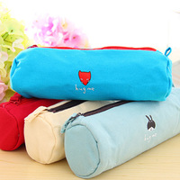 HOT SELL!FREE SHIPPING series canvas small animal circle pencil case pen curtain storage bag 50PCS/LOT