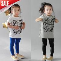 New 2014 summer children tiger head t shirts wholesale girls short sleeve leisure clothing cotton tops 5pcs/lot A034