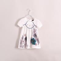 new 2014 summer Girls short sleeve big flowers Exotic and unique design dress 6pcs/lot