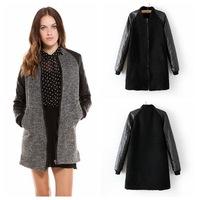 2014 new  Europe style Slim pu woolen jacket collar long-sleeved woolen coat ladies coat