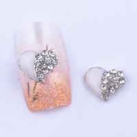 20pcs/lot 3D big clear rhinestones white heart nail art decoration