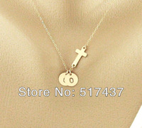 TWO 16K Gold Plated initials charm and Sideways cross Necklace, Cross Monogram necklace, Personalized cross jewelry