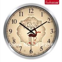 "Free shipping10"" fashion creativearts Continental Christmas deer bedroom/living room  quartz wall clock silent cartoon character"