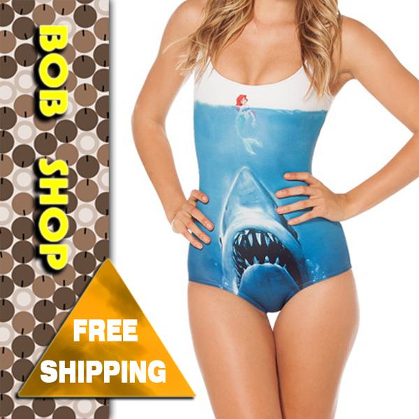 Bob shop ,sw022,new 2014 SHARK VS MERMAID sexy one piece swimsuit , black milk swim suit swimwear monokini for women wholesale(China (Mainland))