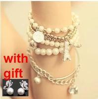 Vintage pearl coin fashion multi-element multi-layer elegant combination 6 piece set female bracelet