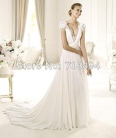 2014 NEW DESIGN Free shipping custom size high quality chiffon material transparent back elegant wedding dresses-Perfect Gowns