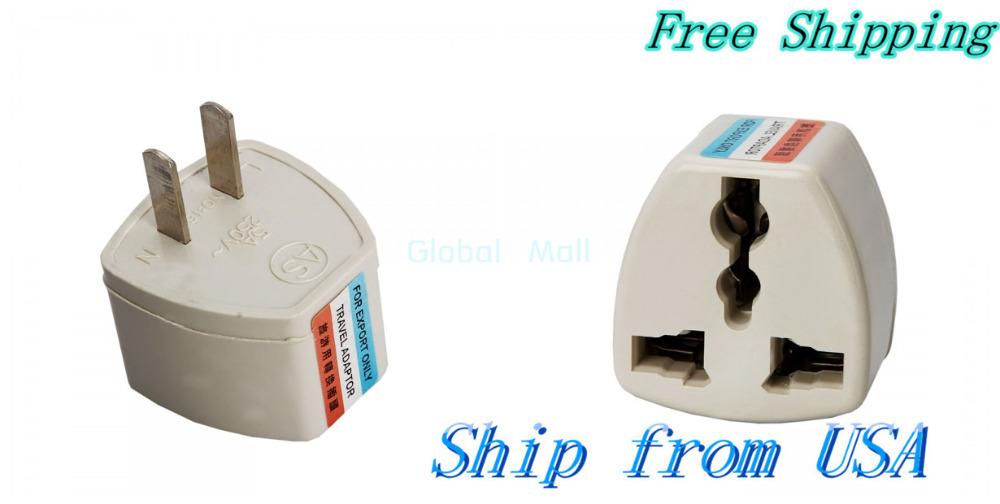 Ship From USA Wholesale 10pcs UK/EU/AU to US Power Plug Converter Travel Adapter White 88006931*10(China (Mainland))