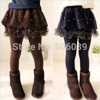 Children's clothing girls spring yarn culottes pearl laciness skinny pants thickening fleece winter legging