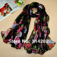 free shipping women printe design rose flower viscose shawls cotton voile design floral plain muslim scarves/scarf 10pcs/lot