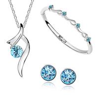 Fashion white gold plated austrian crystal pendant Necklace/Earrings/Bracelet women Stars shining bride wedding  Jewelry Sets