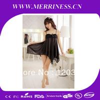 Wildly popular in Japan and South Korea women's clothing black butterfly knot taste sweet sleepwear nightgown lingerie