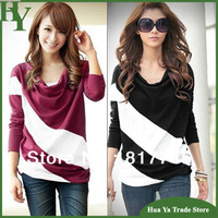T-176 Wholesale Women Clothing Korean Plus Size Striped Long Sleeve Base T Shirts