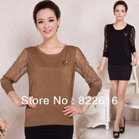 New Spring fashion 2014 Knitted Pullovers cardigan solid women sweater O-neck loose lace sleeve patterns SWEATER-506