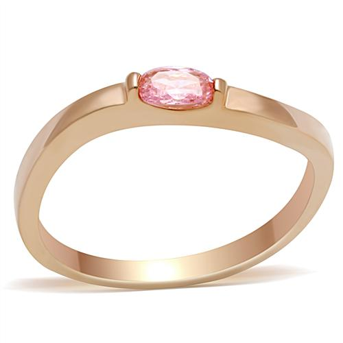 Women rose gold ring oval shape pink AAA zircon engagement Ring Honey women fashion jewelry sister