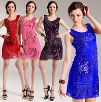 015003 Available!2014 Pretty Summer dress new fashion women flower sequins sleeveless vest dress female slim prom dress OL Wear