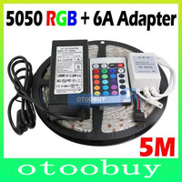 2pcs LED RGB strip SMD 5050 5M/roll 300 leds Flexible Waterproof led Strip light + 24keys Remote +6A 12V adapter