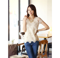 2014 free shipping Summer women's chiffon short-sleeve shirt lace top beading embroidery o-neck blouse shirt