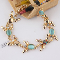 Free shipping New Fashion Women/Girl's 18k Yellow Gold Filled Austrian Crystal Opal Bracelet & Bangle Gift Jewelry