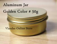 Retail 50Pcs 50ML Golden Color Aluminum Cosmetic Box Cream Jar 56*27mm Free Shipping