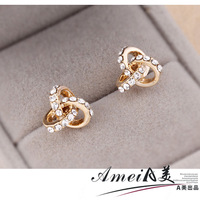 2014 NEW Fashion earrings small stud earring female delicate accessories anti-allergic 2013 rhinestone