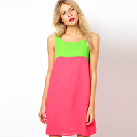 Fashion Love Candy Color Neon Colorant Match Loose-Waisted O-Neck Chiffon Vest One-Piece Dress WD55