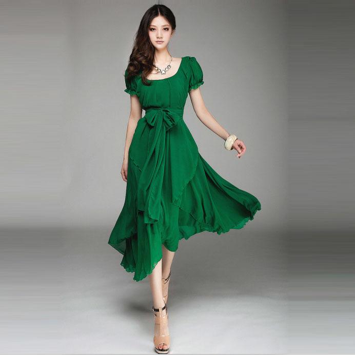 Платье, весна и лето приталенный средний - длинная женское шифон один частей неправильная большой полный