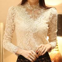 New Spring 2014 Women Long Sleeve Embroidery Lace Floral Crochet Blouse Shirt Blusas Femininas Shirt Top Plus Size L/XL/XXL