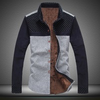 Winter plus velvet shirt male plus wool shirt male shirt thickening slim cotton shirt