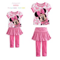 2014 girls Clothing set Summer Cotton Minnie short sleeve Pink T-shirts & Skirt Pants Girls Clothes 5sets/lot