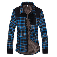 2013 winter plus velvet thickening thermal long-sleeve shirt men's clothing plaid shirt