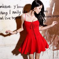 2014 Fashion Sexy Tube Top Bandage Vintage Puff dress High Waist Spaghetti Strap One-Piece Dress WD67
