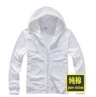 Men hoodies blank white hoodies men Cardigan white sweatshirt zipper open size s-xxl free shipping