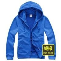 Men cotton hoodies blank hoody blue hoodies 100% cotton men Cardigan free shipping