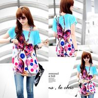 2014 fashion t shirt one-shoulder women's korean O-neck colorful flower shorts tops&tees off-shoulder long t-shirt autumn-summer