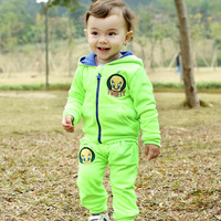 Suprenergic doll velvet child suits 2014 male spring baby set sports children's clothing male