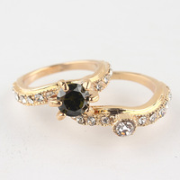 Free shipping New Fashion 18k Yellow Gold Filled 3 Colors Zircon Austrian Crystal Full Size Couple Lover Rings Gift Jewelry