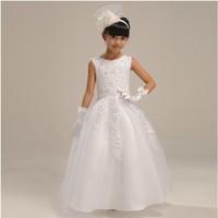 Free shipping High quailty Flower girl dresses for weddings Elegant floor length lace dress 6-14 age